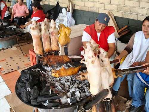 Roasted guinea pig....a real taste treat, they say!
