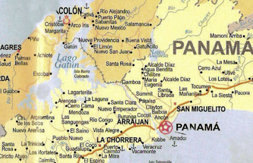 Map of the route of the Panama Canal