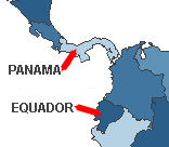 Short flight between Panama and Ecuador