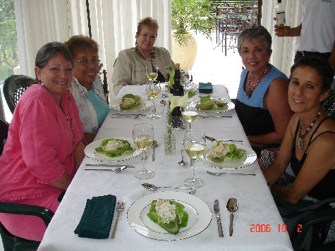 Some of my very best friends at a luncheon (L to R..Georgiann, Olga, Helen, me and Kitzie)
