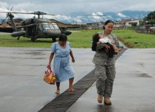 US military help with bringing dehydrated baby to the hospital