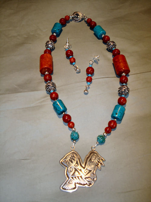 Hopi overlay silver eagle with red and blue torquoise