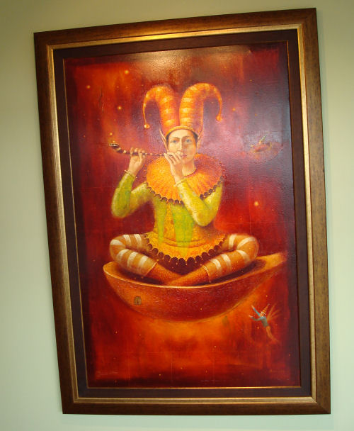 This whimsical painting was done by a big strong Inca man