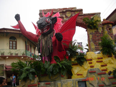 A float in the parade at the Pollera Festival in Las Tablas