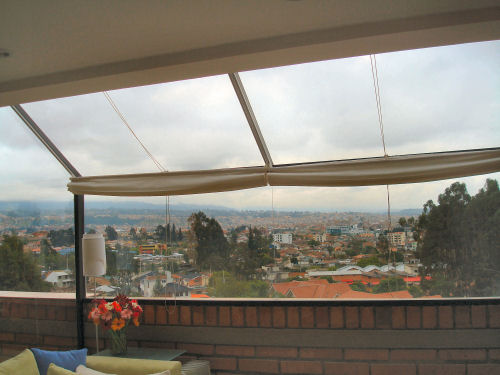 The view of the city is outstanding, with the foothills of the Andes beyond