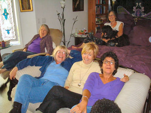 Valerie, Pat, Sharon & Joan.   Judi in the background with one of her dogs