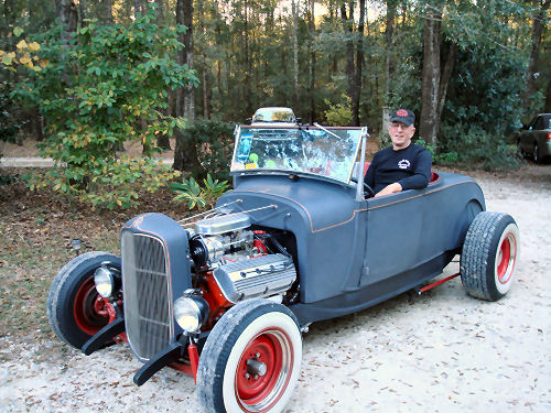 Mike Kearney on the way to the drag race in his roadster!