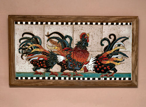 Beautiful Rooster Tile in my kitchen