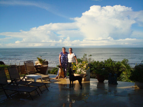Lorraine and me from her patio overlooking the Pacific...and Zap, of course
