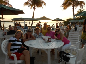 Sunset dinner at the Lorilei in Islamorada.  Prissy, me, Linda, Sandi, Nancy & Wanda