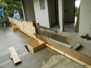Concrete wall being poured for new master bathroom and closet.