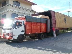 Then it is unloaded into smaller truck