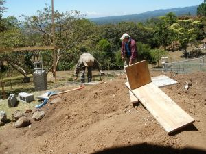Footers were dug deep to support the terrace