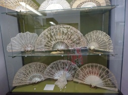 This grouping showed fans featuring hand-made lace